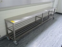 rollable stainless steel bench with shelf