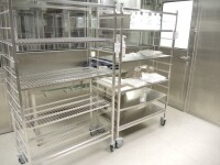 2 mobile trolley Stainless steel with6 trays adjustable