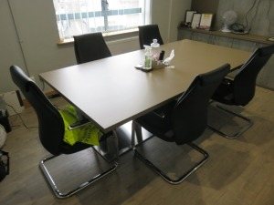 Meeting Room Contents to Include Samsung 42in Wall Mounted Television with Camera, (5) Chrome Frame Black Leather Meeting Room Chairs, Meeting Room Table and Dell Speaker