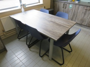 Kitchen Comprising Sharp Microwave Oven, Bosch Coffee Machine, Kettle, Toaster, Steel Frame Wooden Table and (5) Steel Frame Canteen Chairs (All Units Excluded)
