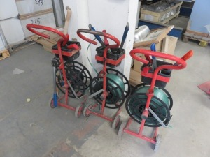 (3) Mobile Strapping Trolleys each with Hand Strapping and Tensioning Tools