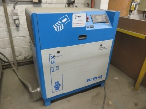 Almig Flex Drive 22 Packaged Air Compressor, 13 Bar, Serial No. F1401802/S0028358, Year 2014 with Atlas Copco GA18 Packaged Air Compressor, Serial No. Not Known, Model Unavailable, 44531 Hours Recorded with Omega Air Model AMD43/AC Air Dryer with Filters