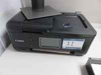 Open Plan Office Containing (3) Canon TR8550 All in One Printers, Brother HL-L2350DW Laser Printer, Zebra GC420T Label Printer and (34) Assorted Size Dell Monitors