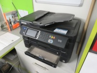 Mezzanine Office Containing (13) Assorted Size Monitors and Epson WF-7620 All in One Printer