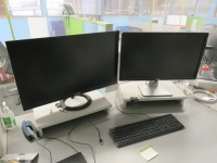 Mezzanine Office Containing (13) Assorted Size Monitors and Epson WF-7620 All in One Printer - 2