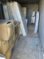 20ft Shipping Container to Include Contents ofNew Mattresses and Table Frames (Please see PDF Document for Details of Contents)(Please Note That These are Representative Photographs Only)